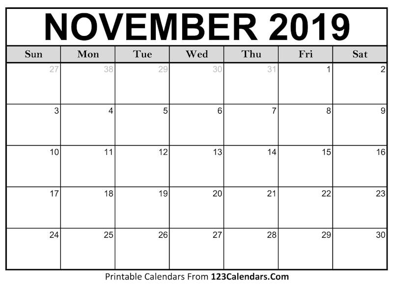 photograph about November Printable Calendar called Ko-fi - Printable November 2019 Blank Calendar - Ko-fi
