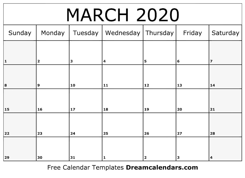graphic about Free Printable March Calendar called Ko-fi - Printable March 2020 Calendar - Ko-fi ❤️ Where by