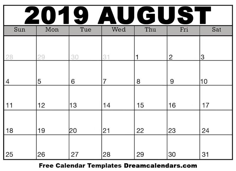 Ko Fi Printable August 2019 Calendar Ko Fi Where Creators