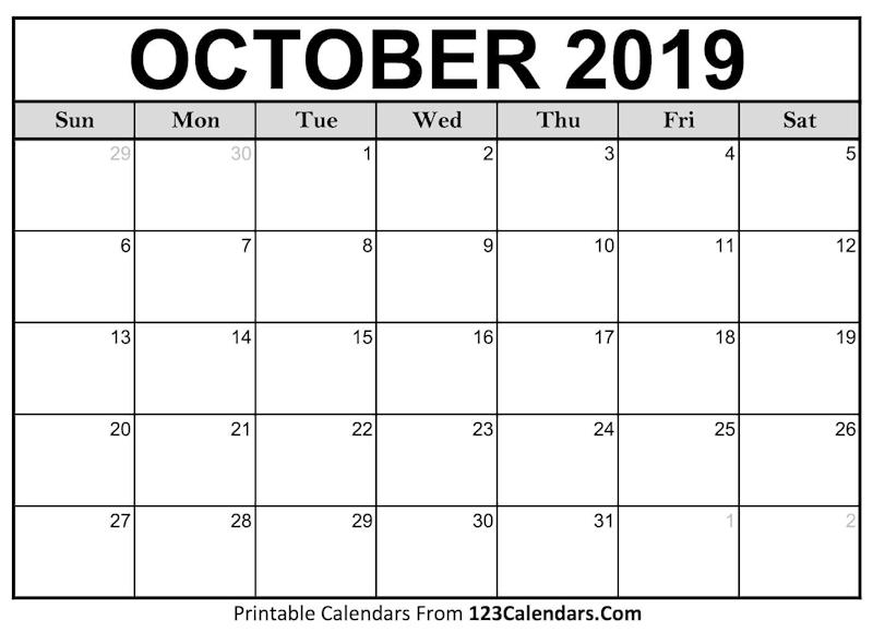 October Calendar 2019.Ko Fi Blank October 2019 Calendar Ko Fi Where Creators Get