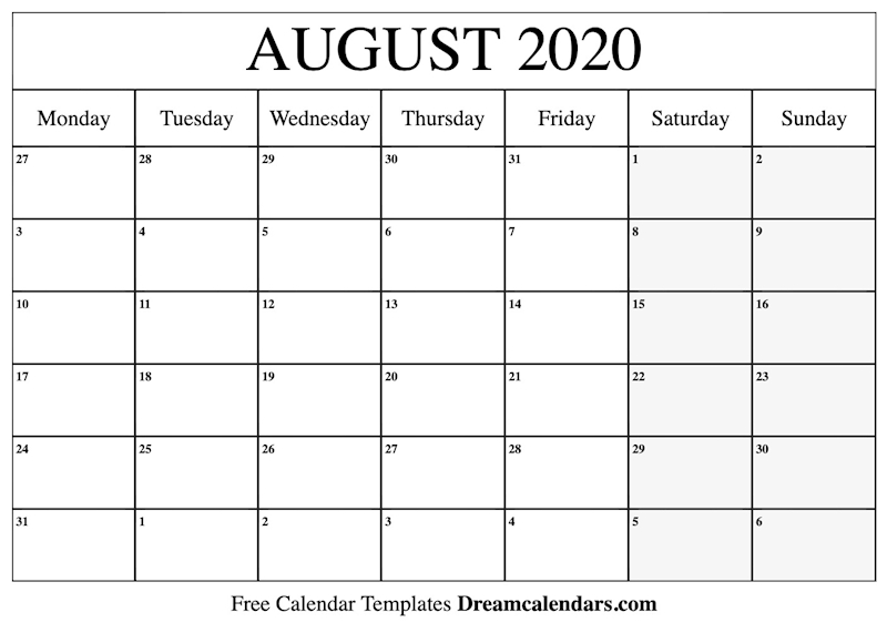 image about Printable August Calendar known as Ko-fi - Printable August 2020 Calendar - Ko-fi ❤️ Exactly where