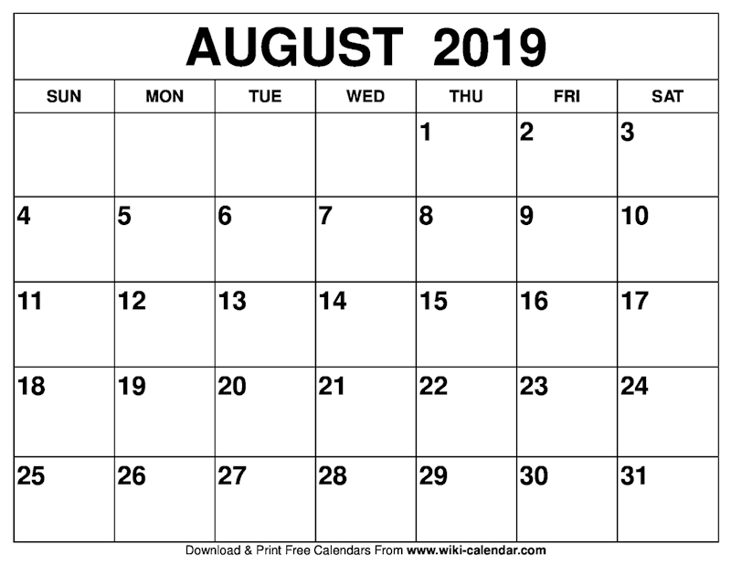 photograph about August Calendar Printable named Ko-fi - Blank August 2019 Calendar Printable - Ko-fi