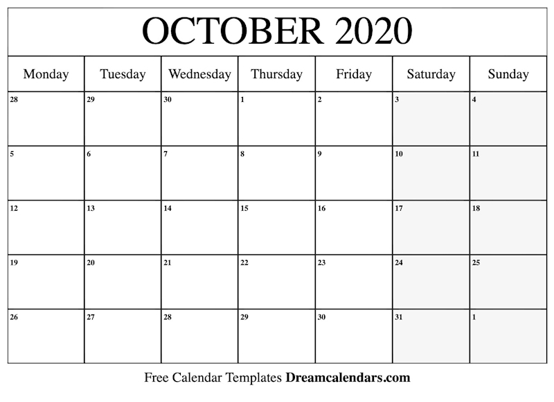 graphic about October Calendar Printable referred to as Ko-fi - Printable Oct 2020 Calendar - Ko-fi ❤️ Where by