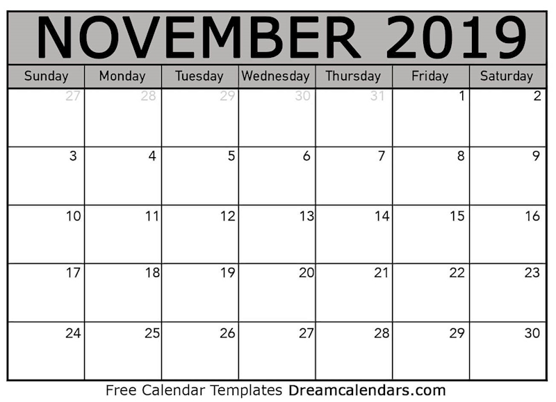 photograph about Free Printable November Calendar known as Ko-fi - Printable November 2019 Calendar - Ko-fi ❤️ Wherever