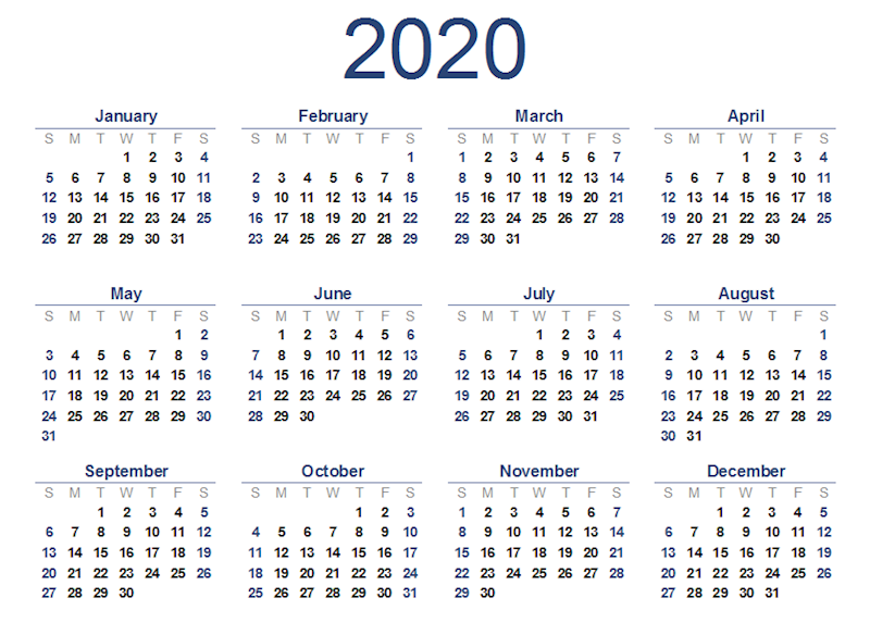 2020 Printable Yearly Calendar.Free 2020 Printable Calendar Ko Fi Where Creators Get