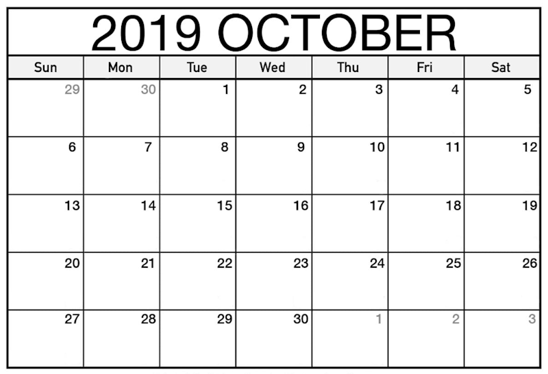 image relating to October Calendar Printable referred to as Ko-fi - No cost Oct 2019 Printable Calendar - Ko-fi