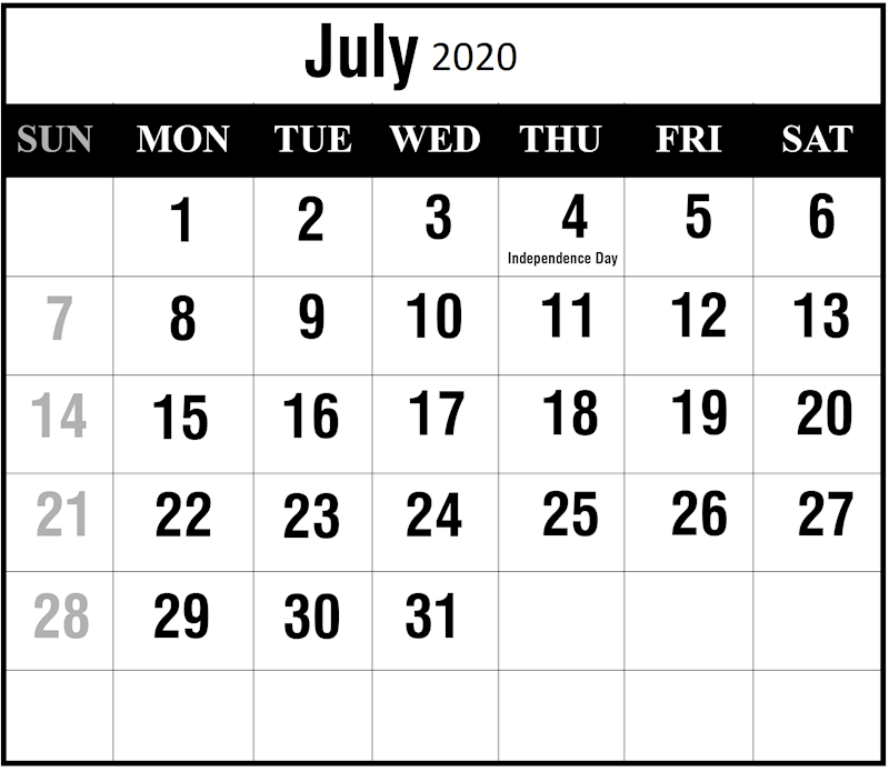 photo regarding Free Printable July Calendar called Ko-fi - Free of charge Printable 2019 July Calendar Template - Ko-fi