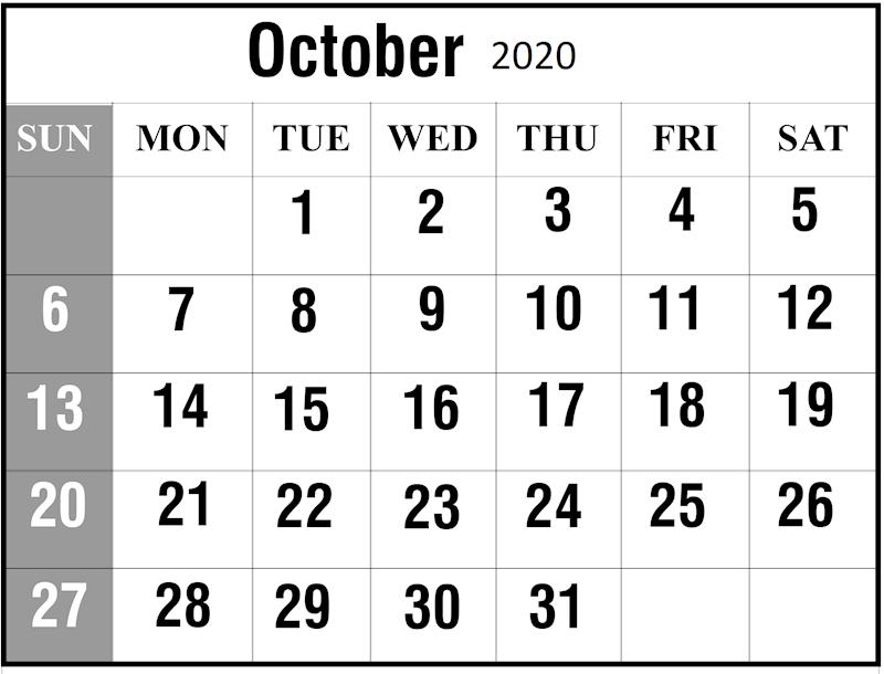 October 2020 Printable Calendar.Ko Fi October 2020 Calendar Printable Ko Fi Where Creators